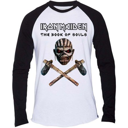 Iron Maiden Baseball Tee Book of Souls Axe Colour von S-2XL