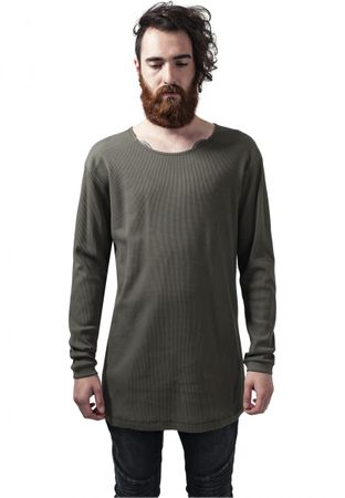Urban Classics Long Shaped Waffle Longsleeve Tee in olive von S-2XL – Bild 1