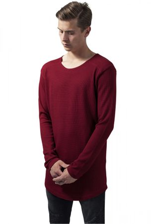 Urban Classics Long Shaped Waffle Longsleeve Tee in rot von S-2XL – Bild 1