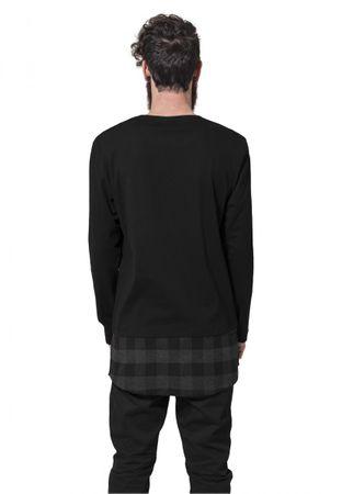 Urban Classics Long Shaped Flanell Bottom Pocket Longsleeves in schwarz-grau von S bis 2XL – Bild 2