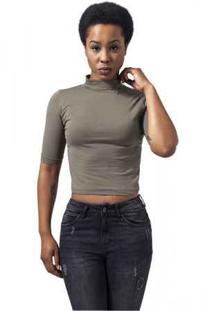 Urban Classics Ladies Cropped Turtleneck Tee in olive von XS-XL – Bild 1