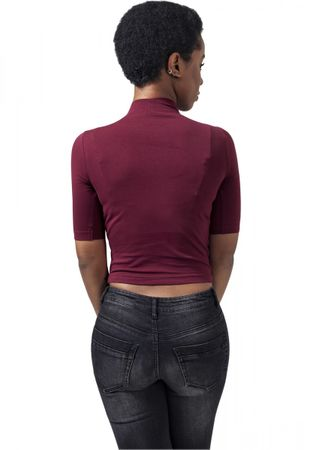 Urban Classics Ladies Cropped Turtleneck Tee in burgundy von XS-XL – Bild 2