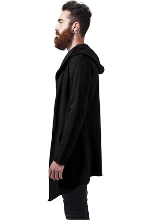 Long Hooded Open Edge Cardigan schwarz von S-5XL – Bild 4