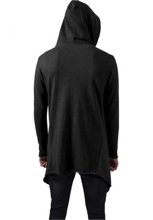 Long Hooded Open Edge Cardigan charcoal von S-5XL – Bild 2