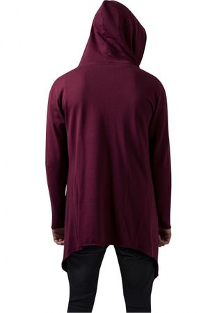 Long Hooded Open Edge Cardigan burgundy von S-5XL – Bild 2