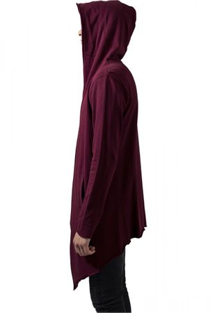 Long Hooded Open Edge Cardigan burgundy von S-5XL – Bild 3