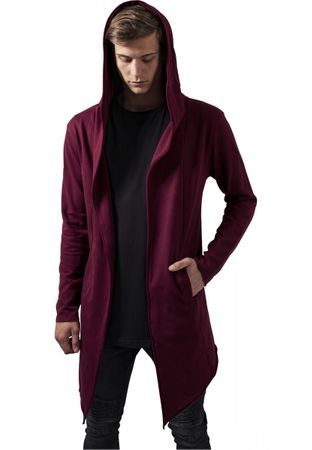 Long Hooded Open Edge Cardigan burgundy von S-5XL – Bild 1