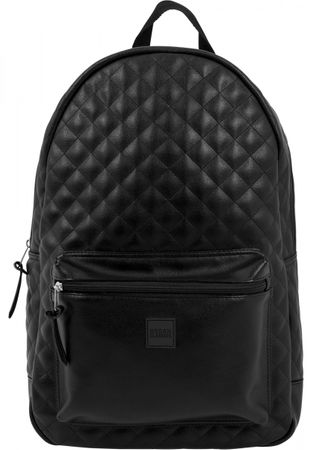 Urban Classics Diamond Quilt Leather Imitation Rucksack in schwarz – Bild 2