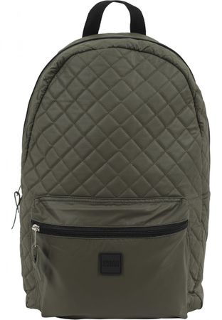 Urban Classics Diamond Quilt Leather Imitation Rucksack in olive – Bild 2