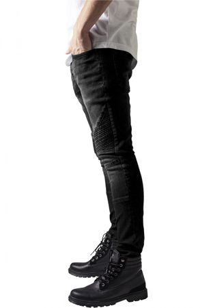 Urban Classics Slim Fit Biker Jeans in blackwashed von W30 bis W38 – Bild 3