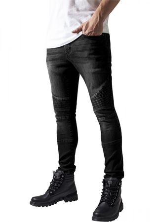 Urban Classics Slim Fit Biker Jeans in blackwashed von W30 bis W38 – Bild 1