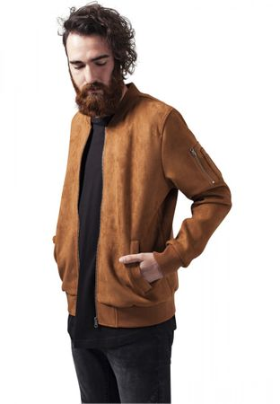 Urban Classics Imitation Suede Bomber Jacket in Toffee von S-2XL – Bild 1