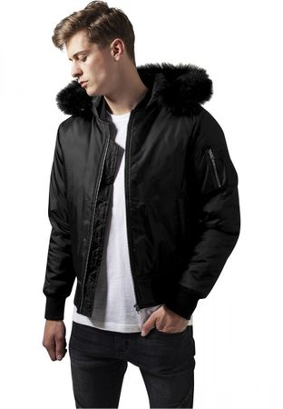 Urban Classics Hooded Basic Bomber Jacket in schwarz von S-2XL – Bild 1