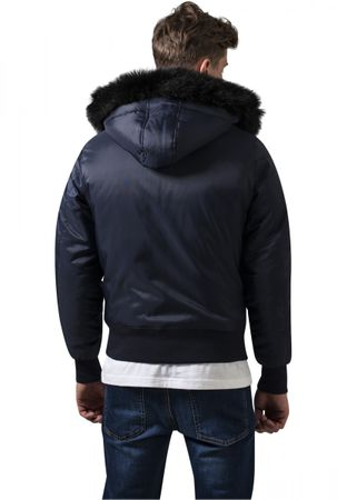 Urban Classics Hooded Basic Bomber Jacket in navy von S-2XL – Bild 4