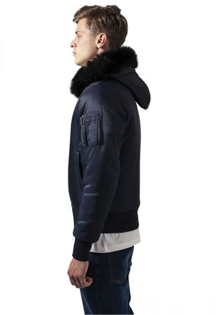 Urban Classics Hooded Basic Bomber Jacket in navy von S-2XL – Bild 2