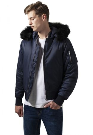 Urban Classics Hooded Basic Bomber Jacket in navy von S-2XL – Bild 1