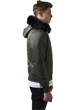 Urban Classics Hooded Basic Bomber Jacket in olive von S-2XL – Bild 2