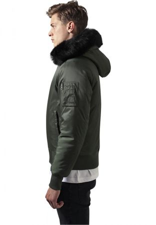 Urban Classics Hooded Basic Bomber Jacket in olive von S-2XL – Bild 3