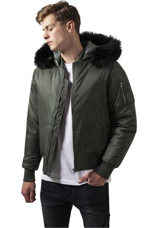Urban Classics Hooded Basic Bomber Jacket in olive von S-2XL – Bild 1