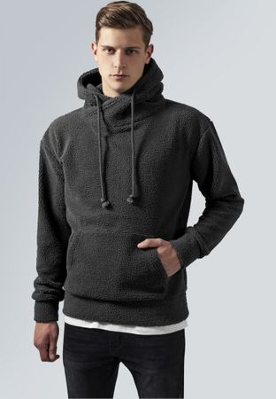 Urban Classics Sherpa High Neck Hoody in dunkelgrau von S-2XL – Bild 1