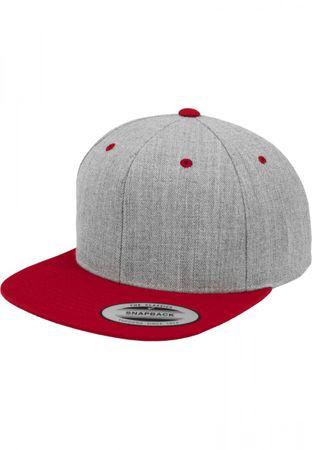 Flexfit / Yupoong Classic Snapback 2-Tone Cap in heathergrey-rot – Bild 1