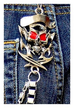 Totenkopf Biker Hosenkette 2-reihige Schlüsselkette – Bild 3