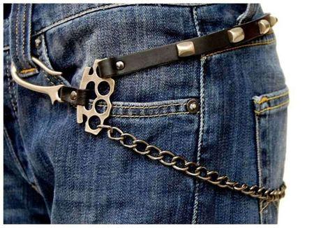 Biker Schlüsselkette mit Schlagringen  – Bild 4