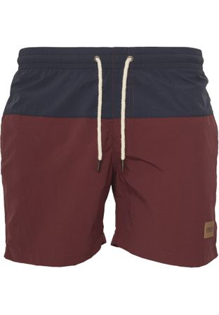 Urban Classics Block Swim Shorts in navy-burgundy von S-5XL – Bild 3