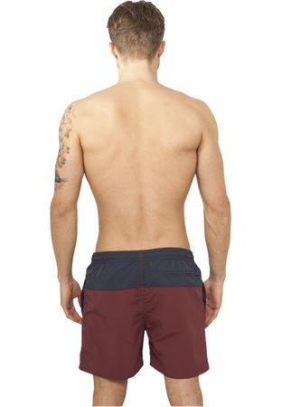 Urban Classics Block Swim Shorts in navy-burgundy von S-5XL – Bild 2