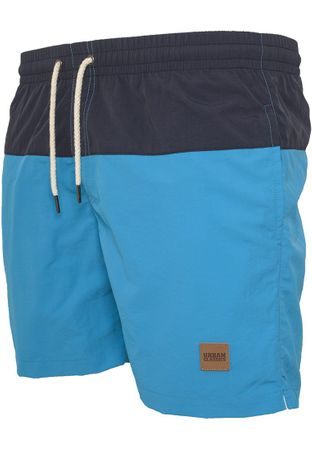 Urban Classics Block Swim Shorts in navy-türkis von S-5XL – Bild 3