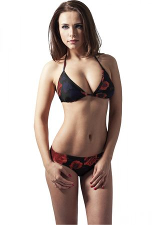 Urban Classics Ladies Triangle Bikini in Flower rot von XS-XL – Bild 1