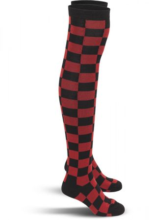 Urban Classics Ladies Checkerboard Overknee Socken in schwarz-rot – Bild 3