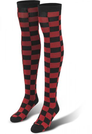 Urban Classics Ladies Checkerboard Overknee Socken in schwarz-rot – Bild 1