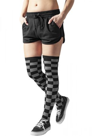 Urban Classics Ladies Checkerboard Overknee Socken in schwarz-grau – Bild 1