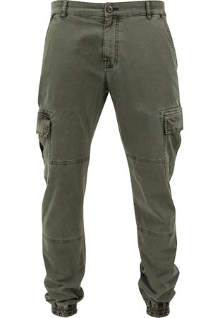 Urban Classics Washed Cargo Twill Jogging Pants in olive von Weite 30-38 – Bild 8