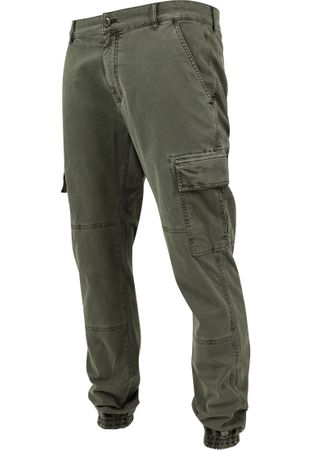 Urban Classics Washed Cargo Twill Jogging Pants in olive von Weite 30-38 – Bild 7