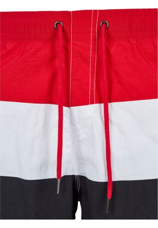 Urban Classics Colour Block Swim Shorts in schwarz-weiß-rot – Bild 8