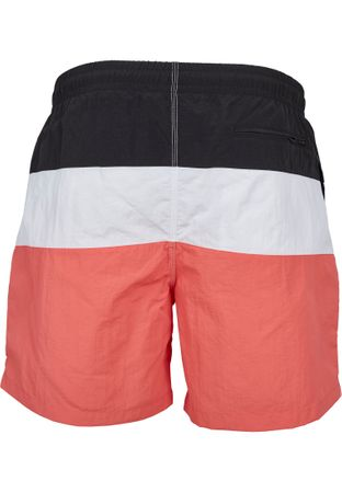 Urban Classics Colour Block Swim Shorts in coral-weiß-schwarz – Bild 3