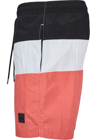 Urban Classics Colour Block Swim Shorts in coral-weiß-schwarz – Bild 5