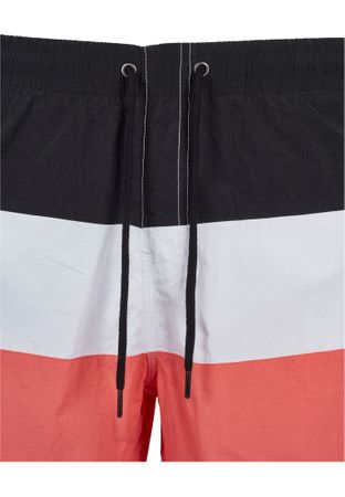 Urban Classics Colour Block Swim Shorts in coral-weiß-schwarz – Bild 7