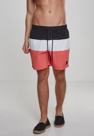 Urban Classics Colour Block Swim Shorts in coral-weiß-schwarz – Bild 1