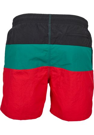 Urban Classics Colour Block Swim Shorts in rot-schwarz-grün – Bild 3