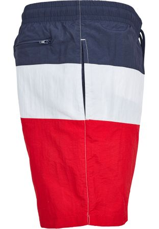 Urban Classics Colour Block Swim Shorts in rot-navy-weiß – Bild 3