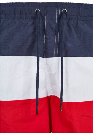 Urban Classics Colour Block Swim Shorts in rot-navy-weiß – Bild 6