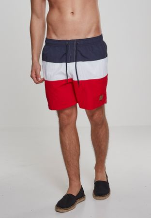 Urban Classics Colour Block Swim Shorts in rot-navy-weiß – Bild 1