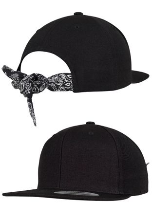 Flexfit / Yupoong Bandana Tie Snapback Cap in schwarz