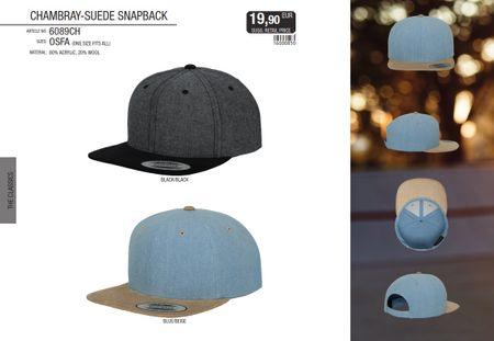 Flexfit Chambray-Suede Snapback Baseball Cap in 2 Styles – Bild 1
