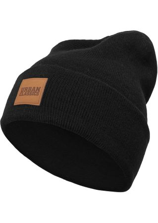 Urban Classics Leder Patch Long Beanie / Wintermütze in 7 Farben – Bild 2