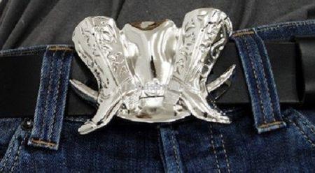 Gürtelschnalle Buckle Cowboy Boots bis 4 cm Gürtelbreite