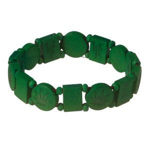 Wood Fellas Armkette / Bracelet Perlenkette Hemp Grün 001